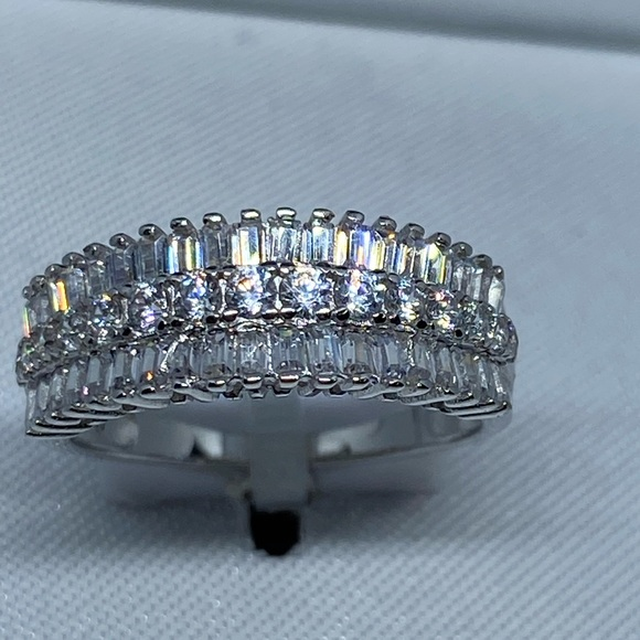 Seta Jewelry Platinum Plated Emerald Cut Purple Crystal and Baguette Cubic Zirconia Eternity 3 Piece Ring Set